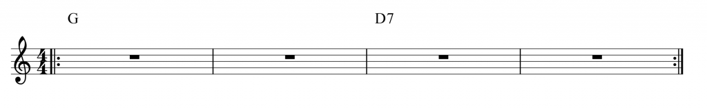 Practice track: 2 bars G and 2 bars D7