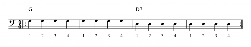 Bass Cleff: 2 bars G and 2 bars D7